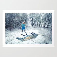 Winter snow horse Art Print