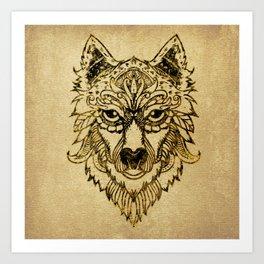 Tribal Wolf Burn Edge on canvas Art Print