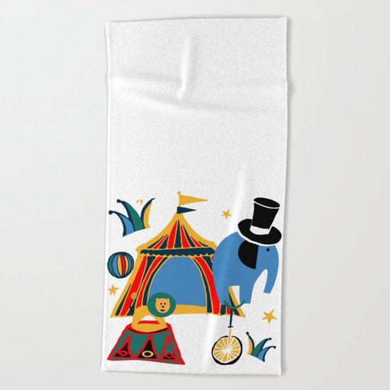 Circus Fun white Beach Towel