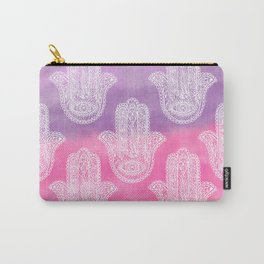 Boho white hand drawn floral lace hamsa hands of fatima purple pink watercolor ombre Carry-All Pouch