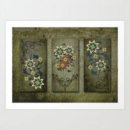 Floral Triptych Digital Floral Art Wall Decor Art Print