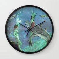 sharks Wall Clocks featuring Sharks by Ben Giles