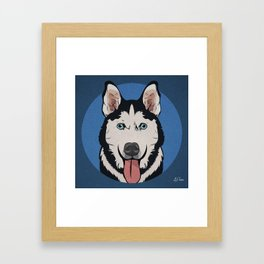 Icons of the Dog Park: Husky Design in Bold Colors for Pet Lovers Framed Art Print