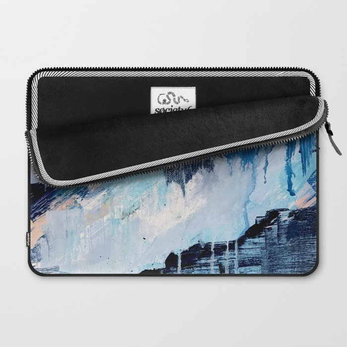 Vibes: an abstract mixed media piece in blues and pinks by Alyssa Hamilton Art Laptop Sleeve