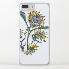 Sunflower Crazy Clear iPhone Case