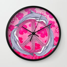 Dolphin Peace Pink Flowers Wall Clock