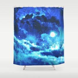 Blue on Moon Shower Curtain