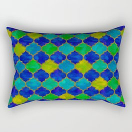 Ocean Breeze -Watercolor Moroccan Lattice Rectangular Pillow