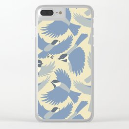 Chickadees  in Blue Clear iPhone Case