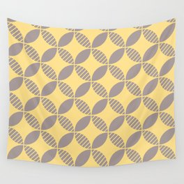 Mid Century Modern Geometric Flower Pattern Yellow and Gray Wall Tapestry