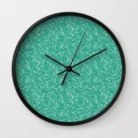 aviation Wall Clocks featuring Schoolyard Aviation Green by Dianne Delahunty
