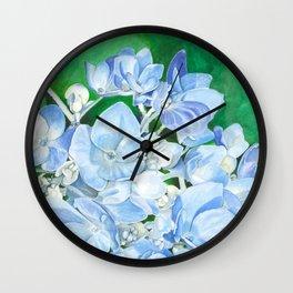 Watercolor Hydrangea Blossoms Wall Clock