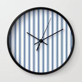 Mattress Ticking Wide Striped Pattern in Dark Blue and White Wall Clock