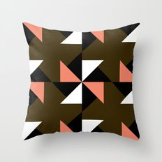 Pink, white & brown triangle motif Throw Pillow
