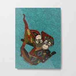 orangutans blue Metal Print