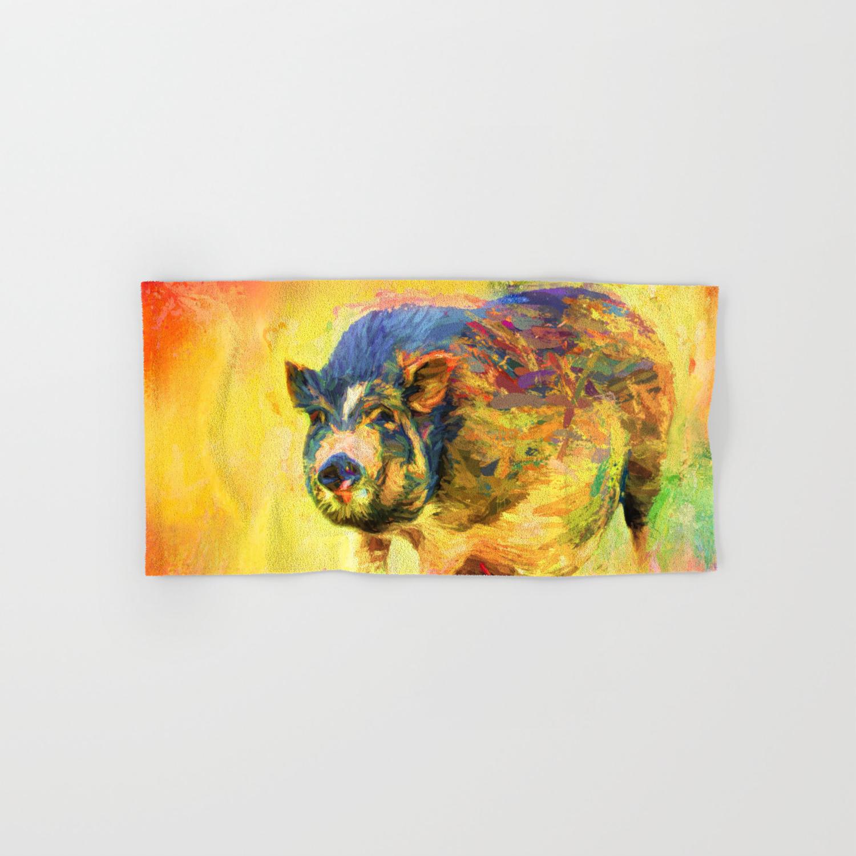 Jazzy Pig Colorful Animal Art By Jai Johnson Hand Bath Towel