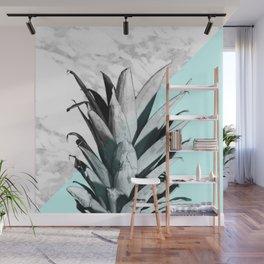Pineapple Top Marble Pastel Blue Wall Mural
