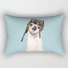 Cool Pilot Llama in Blue Rectangular Pillow
