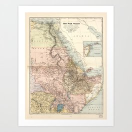 The Nile River Valley Map (1910) Art Print