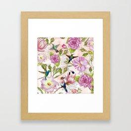 Vintage Roses and Hummingbird Pattern Framed Art Print