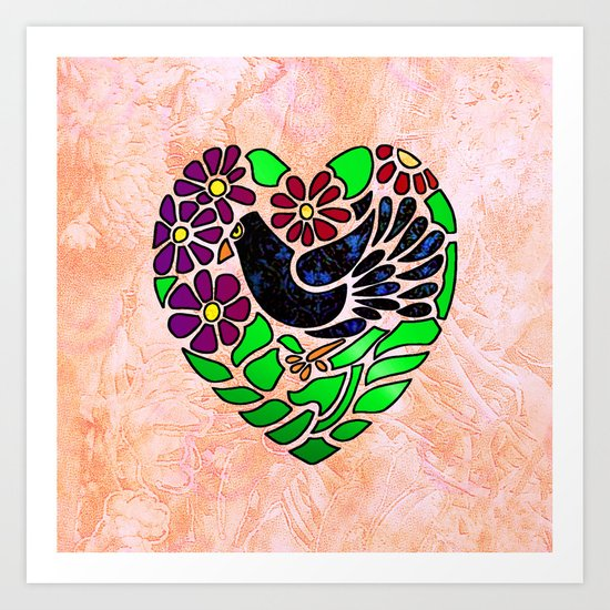 Gothic Bird in Heart on Pink Art Print