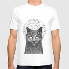 Dandelion black cat Mens Fitted Tee MEDIUM White