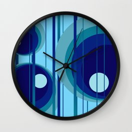 Retro Vintage Graphic Rings blue Wall Clock