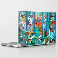 surfing Laptop & iPad Skins featuring Surfing by Ollie Longuet