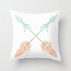 Arrows Turquoise Coral on White Throw Pillow