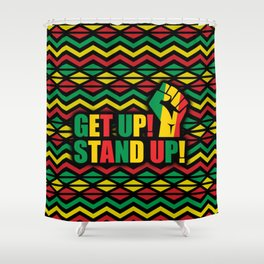 Get up Stand Up Rasta Pattern  Shower Curtain