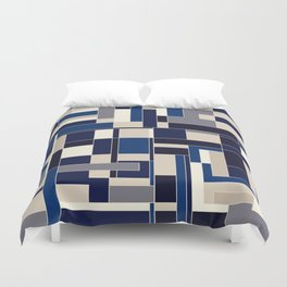 Blue abstract city Duvet Cover