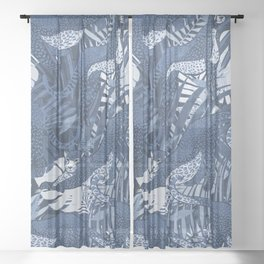 Big Cats in the Night / Cheetahs in Blue Sheer Curtain