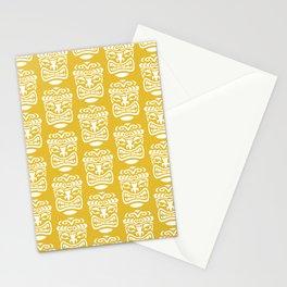 Tiki Pattern Mustard Yellow Stationery Cards