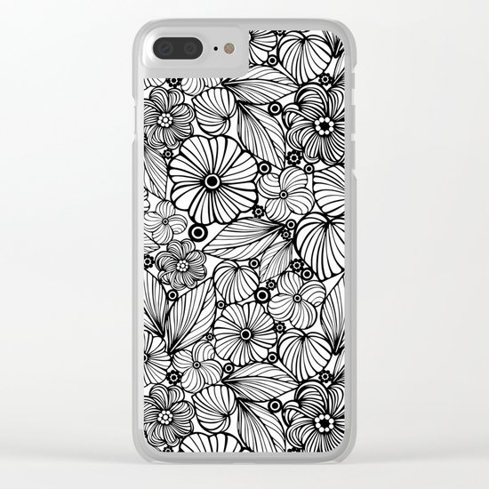 Candy flowers in black Clear iPhone Case