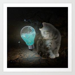 Cute cat with light bulb Art Print