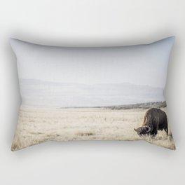 Bison Grazing Rectangular Pillow