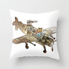 Flying Cat Throw Pillow