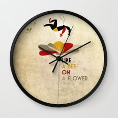 Like a bee on a flower Wall Clock