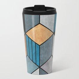 Colorful cubes - blue, grey, brown Travel Mug