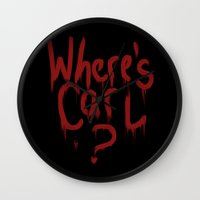 carl sagan Wall Clocks featuring Where's Carl? by mattjamie