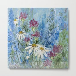 Wildflower Blues Garden Flower Acrylic Art Metal Print