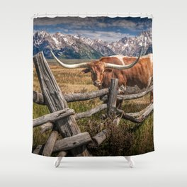 Texas Longhorn Steer with Wood Log Fence in Wyoming Pasture Shower Curtain