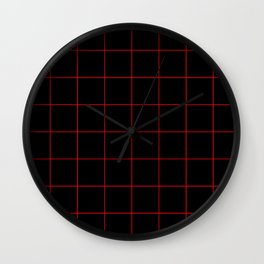 Graph Paper (Red & Black Pattern) Wall Clock