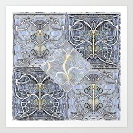 Silver ^ Pewter Butterfly Collage Art Print