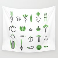 vegetables Wall Tapestries featuring Vegetables set by Lera Efremova