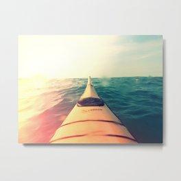 Yellow Kayak in Water Color Nature Photography Metal Print