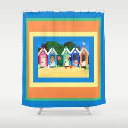 Colorful Beachhuts Shower Curtain
