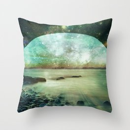 Green Mystic Lake : Fantasy Moon Landscape Throw Pillow