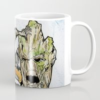 rocket raccoon Mugs featuring Rocket Raccoon and Groot by artbyteesa