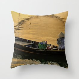 Boat on the River at Sunset Throw Pillow